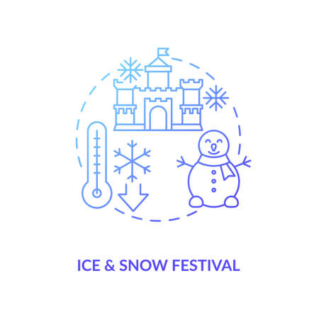 Ice and snow festival concept icon. Vacation destination idea thin line illustration. Winter festival. Ice sculptures. Snow artwork show. Exhibition areas. Vector isolated outline RGB color drawing