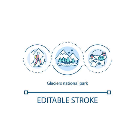 Glaciers national park concept icon. Walking tourism in mountain. Winter active vacation idea thin line illustration. Vector isolated outline RGB color drawing. Editable stroke 일러스트