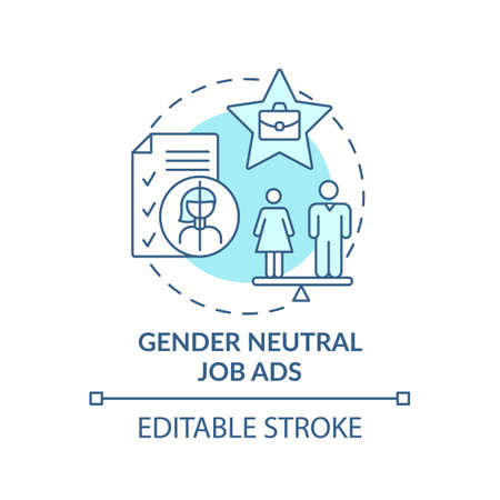Gender neutral job ads concept icon. Gender diversity implementation advices. Rescruitment guide idea thin line illustration. Vector isolated outline RGB color drawing. Editable stroke
