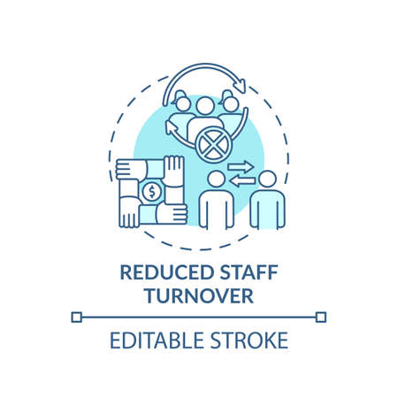 Reduced staff turnover concept icon. Gender diversity policy benefits. Team mananging tutorial idea thin line illustration. Vector isolated outline RGB color drawing. Editable stroke Vecteurs