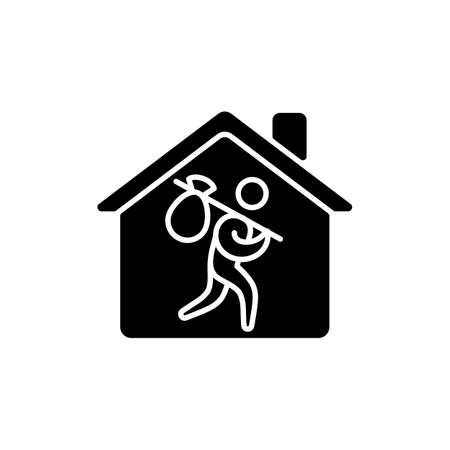 Refugee shelter black glyph icon. Temporary tent accommodation. Transitional shelter. Tent city. Asylum seekers. Refugee camp. Silhouette symbol on white space. Vector isolated illustration