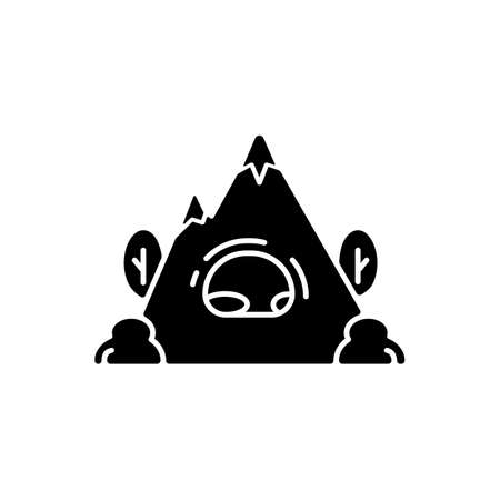 Rock shelter black glyph icon. Rockhouse. Crepuscular cave. Hiking. Bluff shelter. Shallow cave-like opening. Camping. Abri. Silhouette symbol on white space. Vector isolated illustration