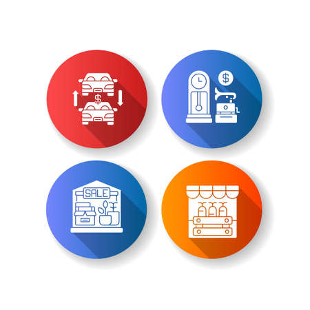 Flea market flat design long shadow glyph icons set. Antique store, auto trade, garage sale and public market. Selling old and second hand products. Silhouette RGB color illustration