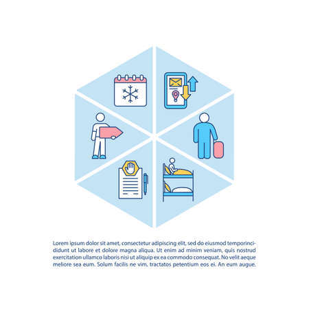 Winter holiday concept icon with text. Booked ice hostel. Cold season vacations. Bed place rental. PPT page vector template. Brochure, magazine, booklet design element with linear illustrations 向量圖像