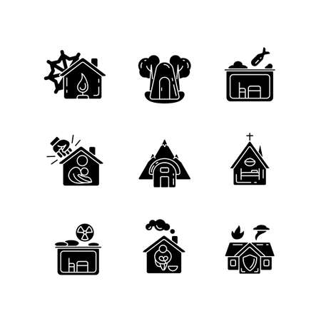 Human shelters black glyph icons set on white space. Temporary residence for homeless people. Night time shelter opportunity. Warming center. Silhouette symbols. Vector isolated illustration