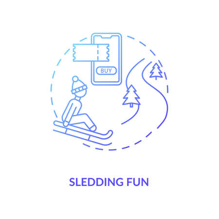 Sledding fun concept icon. Hygge lifestyle idea thin line illustration. Family leisure time. Winter outdoor activity. Enjoying life simple pleasures. Vector isolated outline RGB color drawing Vector Illustratie