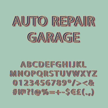 Auto repair garage vintage 3d vector alphabet set. Retro bold font, typeface. Pop art stylized lettering. Old school style letters, numbers, symbols pack. 90s, 80s creative typeset design template