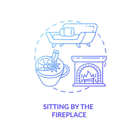 Sitting by fireplace concept icon. Hygge lifestyle idea thin line illustration. Seeking comfort during winter. Christmas mulled red wine. Roaring fireplace. Vector isolated outline RGB color drawing
