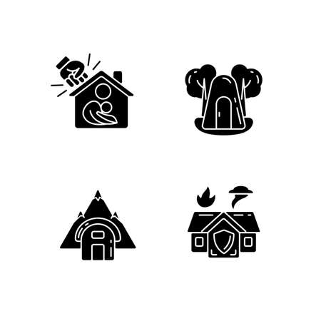 Temporary safe residence black glyph icons set on white space. Domestic violence victims support. Single-person air raid shelter. Temporary tent. Silhouette symbols. Vector isolated illustration 일러스트