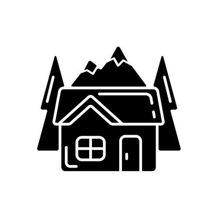 Bothy black glyph icon. Mountain cabin. Wilderness hut. Hiking and mountain recreation. Tourism building. Emergency survival shelter. Silhouette symbol on white space. Vector isolated illustration