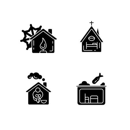 Temporary supportive housing black glyph icons set on white space. Warming center. Religious shelter. Church. Supportive housing. Bunker. Silhouette symbols. Vector isolated illustration