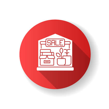 Garage sale red flat design long shadow glyph icon. Local flea market. Selling second hand and used goods at low price. Street sale. Junk shop with cheap items. Silhouette RGB color illustration