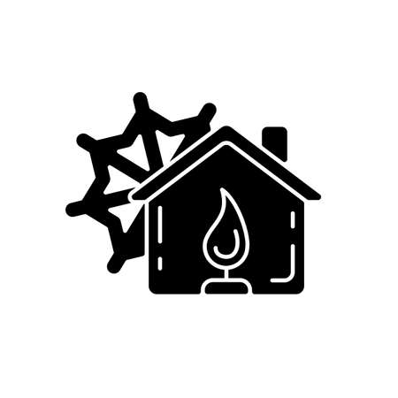 Warming center black glyph icon. Short-term emergency shelter. Death and injury prevention. Safe refuge from extreme weather. Silhouette symbol on white space. Vector isolated illustration