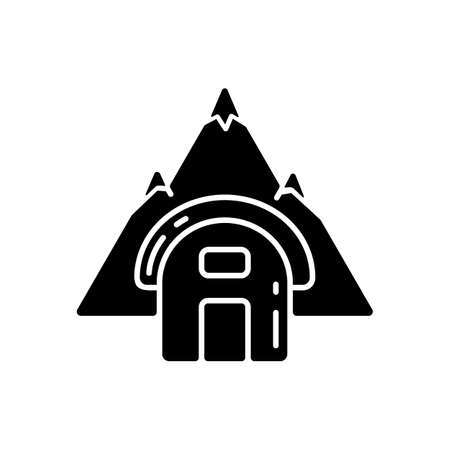 Bivouac shelter black glyph icon. Improvised camp site. Backpacking. Scouting. Temporary tent. Encampment. Bivy sack. Traveling. Silhouette symbol on white space. Vector isolated illustration