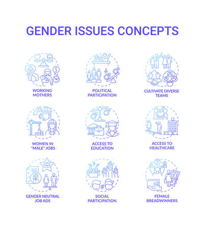 Gender issues concept icons set. Changing gender roles. Social event participation. Comunity problems types idea thin line RGB color illustrations. Vector isolated outline drawings