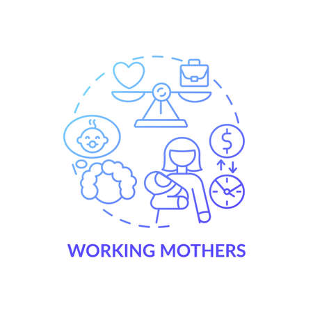Working mothers concept icon. Changing gender roles. Different available jobs variety. Home fund encreasing guide idea thin line illustration. Vector isolated outline RGB color drawing