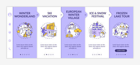 Winter vacation onboarding vector template. Winter Wonderland. European wintry village. Ice festival. Responsive mobile website with icons. Webpage walkthrough step screens. RGB color concept