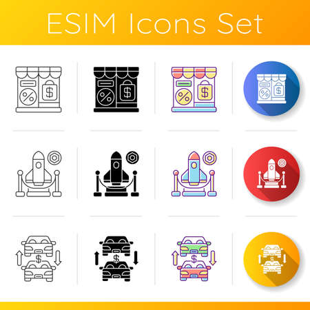 Trading business icons set. Linear, black and RGB color styles. Retail services, different commercial services. Auto trade center, outlet store and expo. Isolated vector illustrations