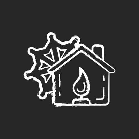 Warming center chalk white icon on black background. Short-term emergency shelter. Death and injury prevention. Safe refuge from extreme weather. Isolated vector chalkboard illustration