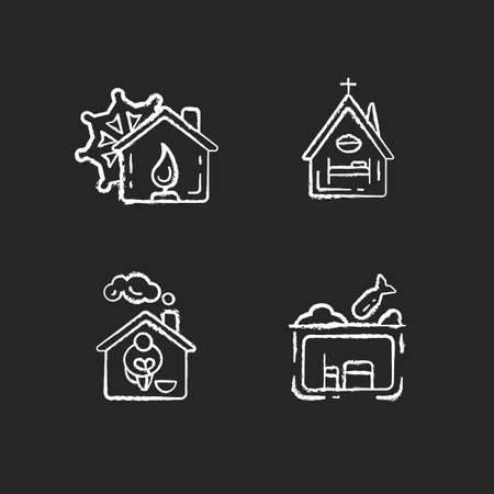 Temporary supportive housing chalk white icons set on black background. Warming center. Religious shelter. Church. Homeless shelter. Supportive housing. Isolated vector chalkboard illustrations