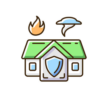 Emergency shelter RGB color icon. Temporary residence. Natural disasters. Domestic violence. Warming center. Safety and protection. Emergency housing assistance. Isolated vector illustration