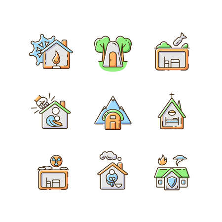 Human shelters RGB color icons set. Temporary residence for homeless people. Night time shelter opportunity. Warming center. Emergency shelter. Silhouette symbols. Vector isolated illustrations