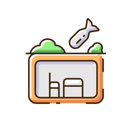 Bomb shelter RGB color icon. Bunker. Civil defense measures. Protection against bomb effects. Nuclear fallout. Room underground. Shelter during air raid. Isolated vector illustration