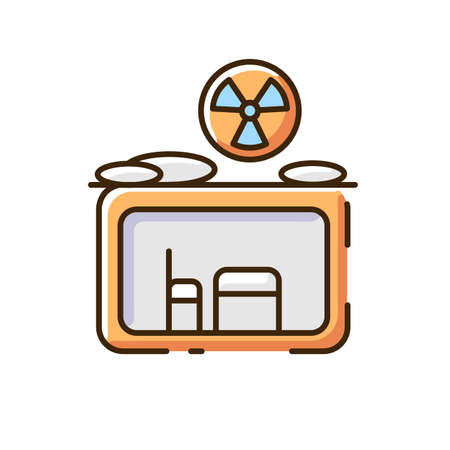 Fallout shelter RGB color icon. Nuclear explosion. Protection from radioactive debris. Civil defense measures. Shelter location. Underground placement. Safety. Isolated vector illustration