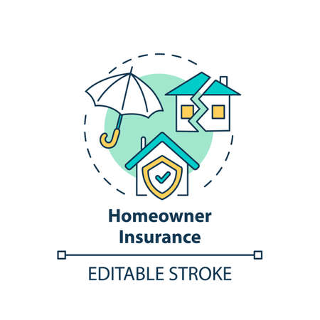 Homeowner insurance concept icon. Mortgage payment element idea thin line illustration. Home warranty. Insurance premiums. Vector isolated outline RGB color drawing. Editable stroke