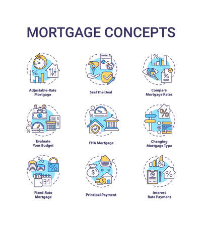 Mortgage concept icons set. Loan housing idea thin line RGB color illustrations. Adjustable-rate mortgage. Seal deal. Compare loan rates. Vector isolated outline drawings. Editable stroke