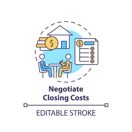 Negotiate closing costs concept icon. First-time homebuyer tip idea thin line illustration. Discounts and rebates. Reducing lender fees. Vector isolated outline RGB color drawing. Editable stroke Ilustração
