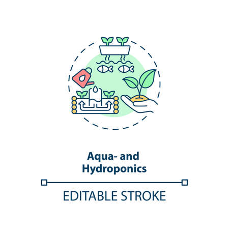 Aqua and hydroponics concept icon. Raising aquatic animals. Cultivating plants in water. Urban farming idea thin line illustration. Vector isolated outline RGB color drawing. Editable stroke Иллюстрация