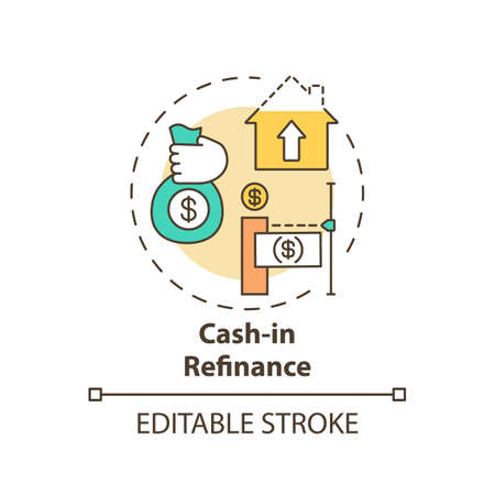Cash-in refinance concept icon. Mortgage refinance type idea thin line illustration. Paying down mortgage costs and lower loan balances. Vector isolated outline RGB color drawing. Editable stroke