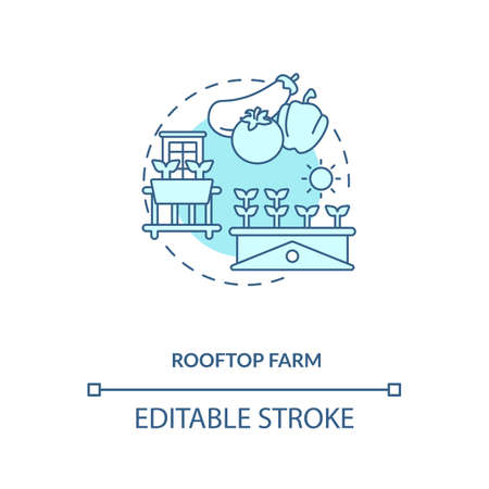 Rooftop farm concept icon. Futuristic gardening options. City buildings rooftops food fields. Urban farming idea thin line illustration. Vector isolated outline RGB color drawing. Editable stroke