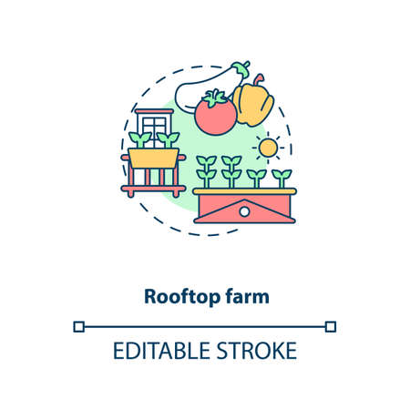 Rooftop farm concept icon. Futuristic gardening idea. City rooftops food fields. Urban farming idea thin line illustration. Vector isolated outline RGB color drawing. Editable stroke