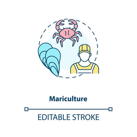Mariculture concept icon. Shellfish production. Seafoods growing process. Luxury meals. Aquaculture idea thin line illustration. Vector isolated outline RGB color drawing. Editable stroke  イラスト・ベクター素材
