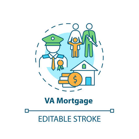 VA mortgage concept icon. Veterans affairs type idea thin line illustration. Direct home loan. Mortgage lender. Refinance rate. Vector isolated outline RGB color drawing. Editable stroke Vektorové ilustrace