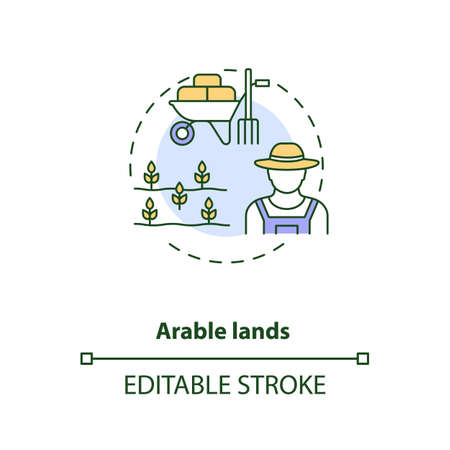 Arable lands concept icon. Farm production types. Cultivated fields for growing foods. Farming industry idea thin line illustration. Vector isolated outline RGB color drawing. Editable stroke