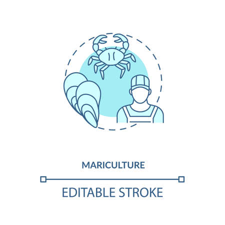 Mariculture concept icon. Shellfish production. Seafoods growing places. Luxury meals ingredients. Aquaculture idea thin line illustration. Vector isolated outline RGB color drawing. Editable stroke  イラスト・ベクター素材