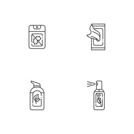Antibacterial hand sanitizers linear icons set. Pocket disinfectant gel for hand wash. Customizable thin line contour symbols. Isolated vector outline illustrations. Editable stroke