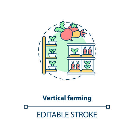 Vertical farming concept icon. Practice of growing crops in vertically stacked layers. Urban farming idea thin line illustration. Vector isolated outline RGB color drawing. Editable stroke