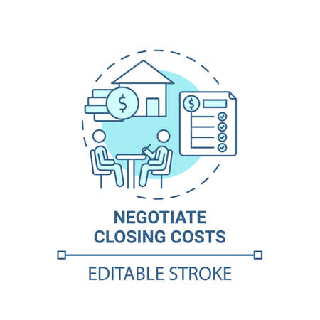 Negotiate closing costs concept icon. First-time homebuyer tip idea thin line illustration. Vector isolated outline RGB color drawing. Editable stroke