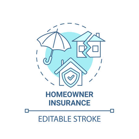 Homeowner insurance concept icon. Mortgage payment element idea thin line illustration. Financial protection. Insurance premiums. Vector isolated outline RGB color drawing.