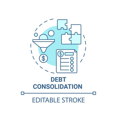 Debt consolidation concept icon. Mortgage refinance benefit idea thin line illustration. Multiple balances combining. Second mortgage. Vector isolated outline RGB color drawing. Editable stroke
