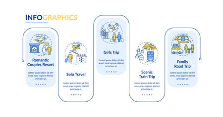 Winter trip ideas vector infographic template. Girls-only, family road travel presentation design elements. Data visualization with 5 steps. Process timeline chart. Ilustração