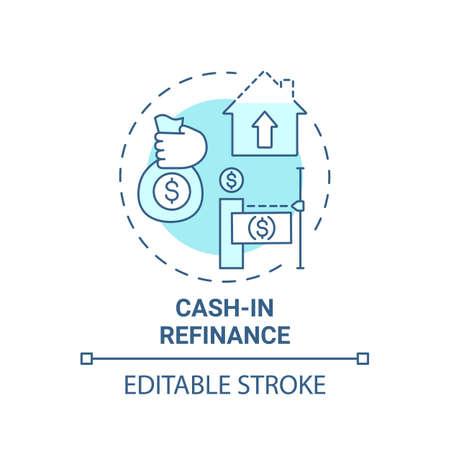 Cash-in refinance concept icon. Mortgage refinance type idea thin line illustration. Saving homeowners money. Lower loan balances. Vector isolated outline RGB color drawing. Editable stroke Vektorgrafik