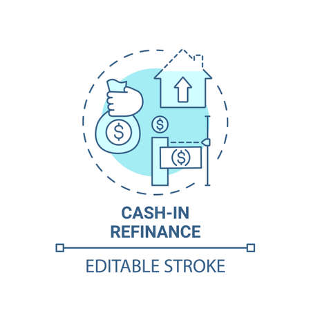 Cash-in refinance concept icon. Mortgage refinance type idea thin line illustration. Saving homeowners money. Lower loan balances. Vector isolated outline RGB color drawing. Editable stroke Vektorové ilustrace