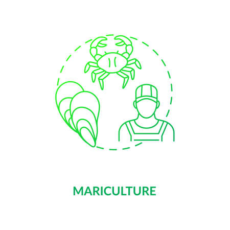 Mariculture concept icon. Shellfish production. Seafoods growing places. Luxury meals ingredients picking. Aquaculture idea thin line illustration. Vector isolated outline RGB color drawing