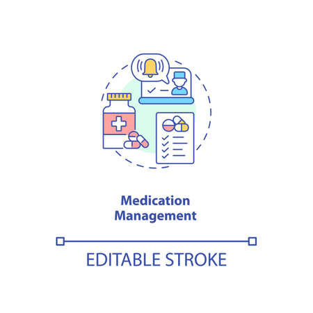 Medication management concept icon. Telemedicine services types. Healthcare devices. Future patient treatment idea thin line illustration. Vector isolated outline RGB color drawing. Editable stroke