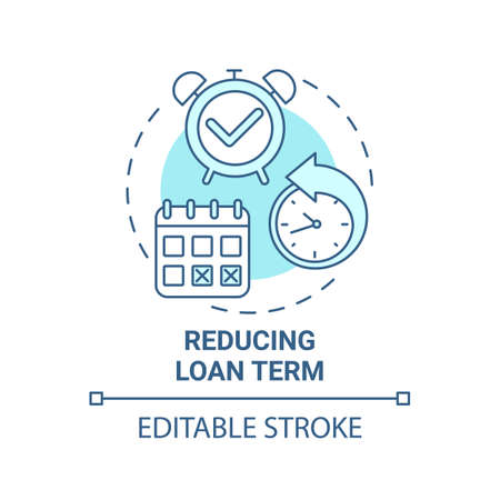 Reducing loan term concept icon. Mortgage refinance benefit idea thin line illustration. Interest-reducing loan. Making bigger down payment. Vector isolated outline RGB color drawing. Editable stroke